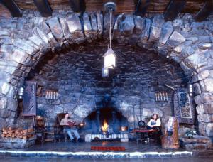 The fireplace at Mary Colter's Hermit's Rest, built 1914. Photo credit: NPS (see below).