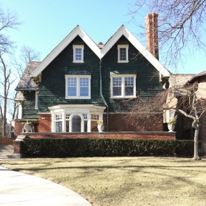 A green, double-gabled house in Milwaukee. See other houses from this neighborhood in my post here.